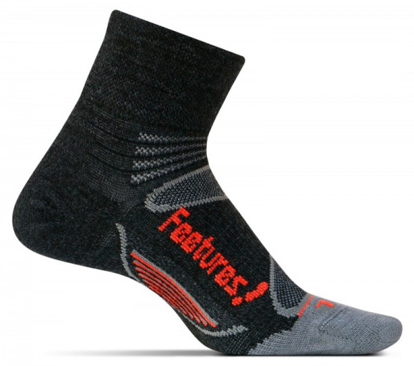 Feetures Elite Merino+ Ultralight Quarter charcoal/lava